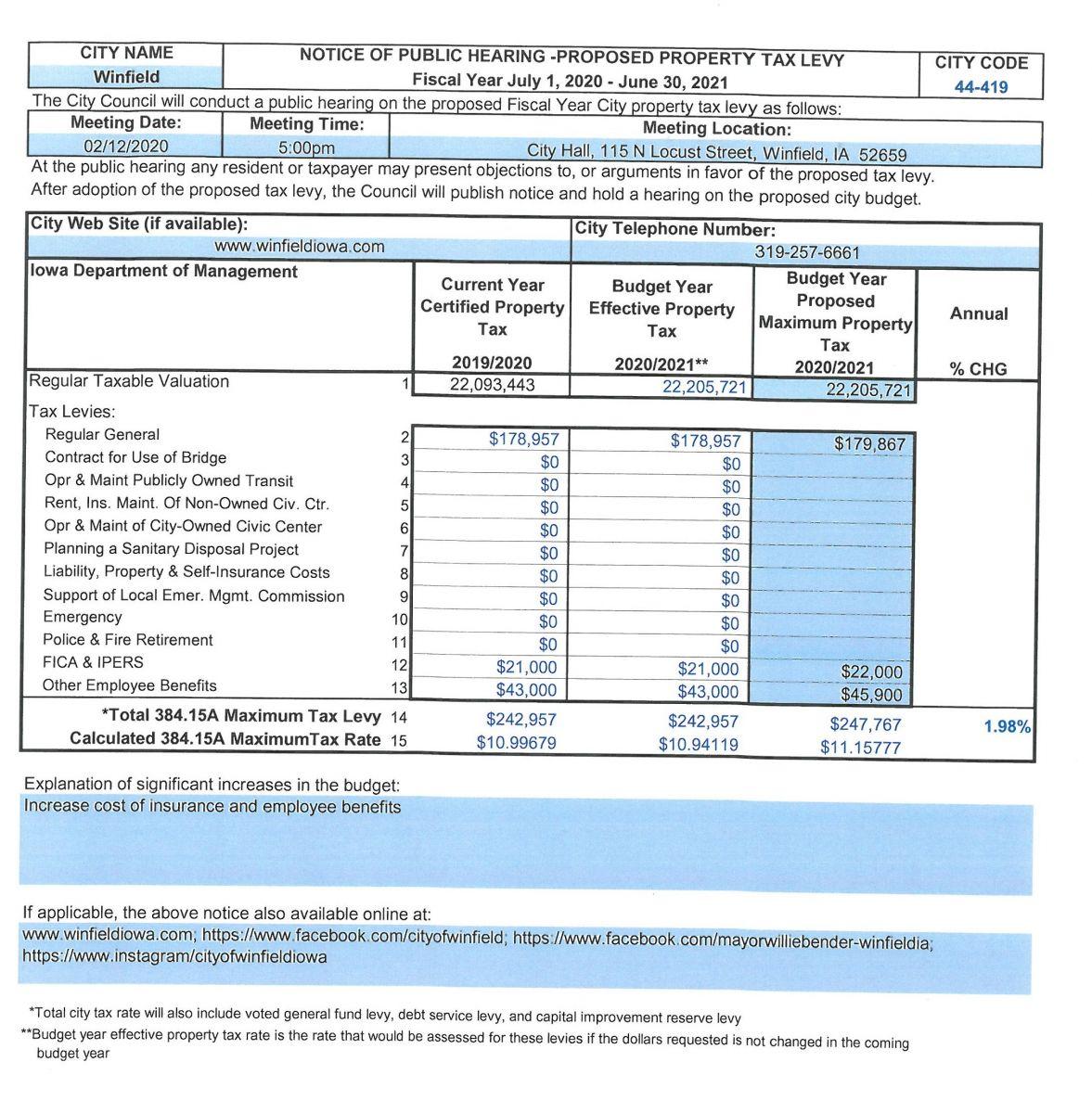 Max Tax Levy Public Notice