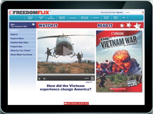 screenshot of the Vietnam War topic