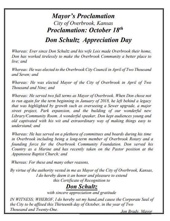 Don Schultz Proclamation