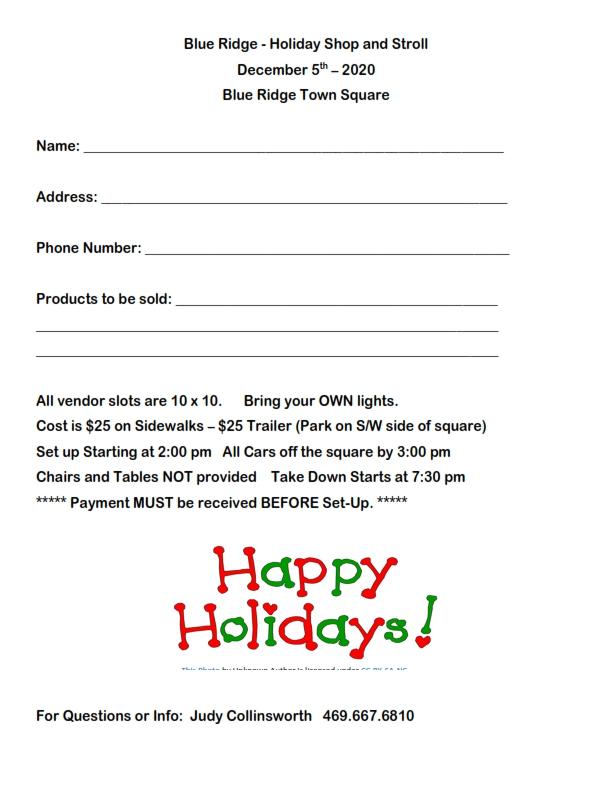 2020 Holiday Stroll Vendor Form