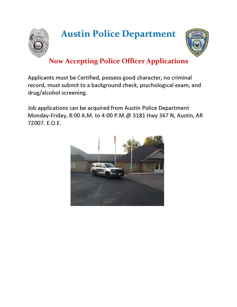 Now Hiring for Police Officer