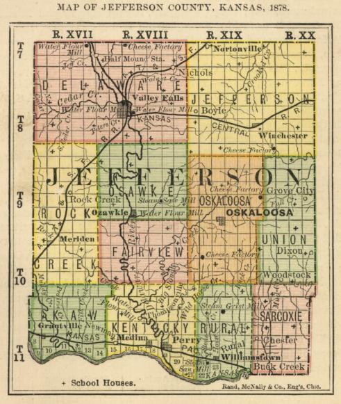 Jefferson County Map 1878; Courtesy Kansas Historical Society