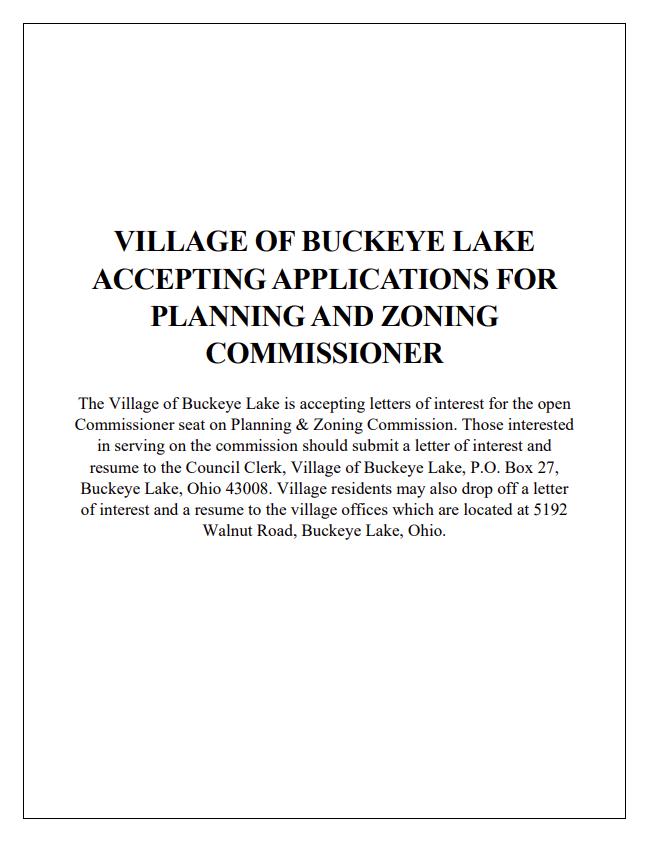 Planning & Zoning - Open Seat Posting - Sept 2020