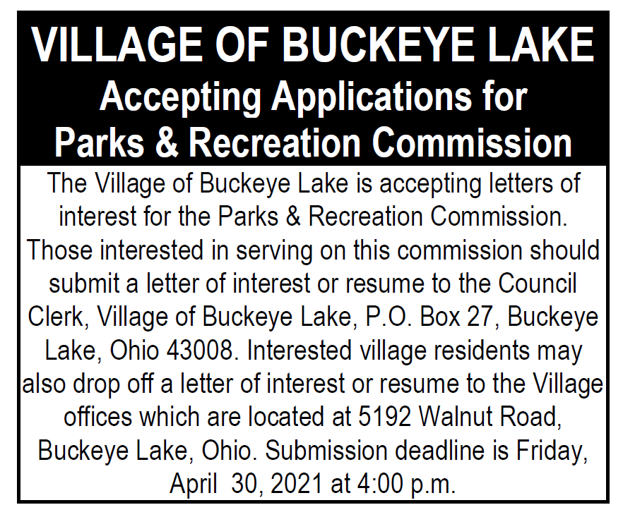 Parks and Recreation Commission Vacancy Notice