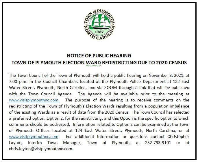 November 8, 2021 Redistricting Notice of Public Hearing