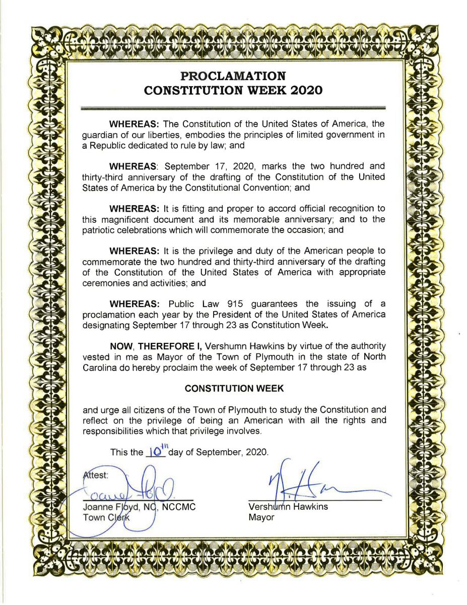 Constitution Proclamation Week - 09/17-09/23 2020